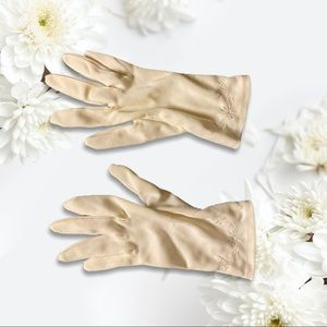 Satin Vintage Gloves w/ Simple Embroidery